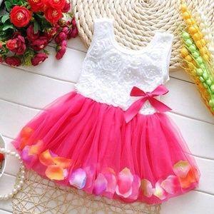 Other - Beautiful Hot Pink Rose Petal Dress 2T